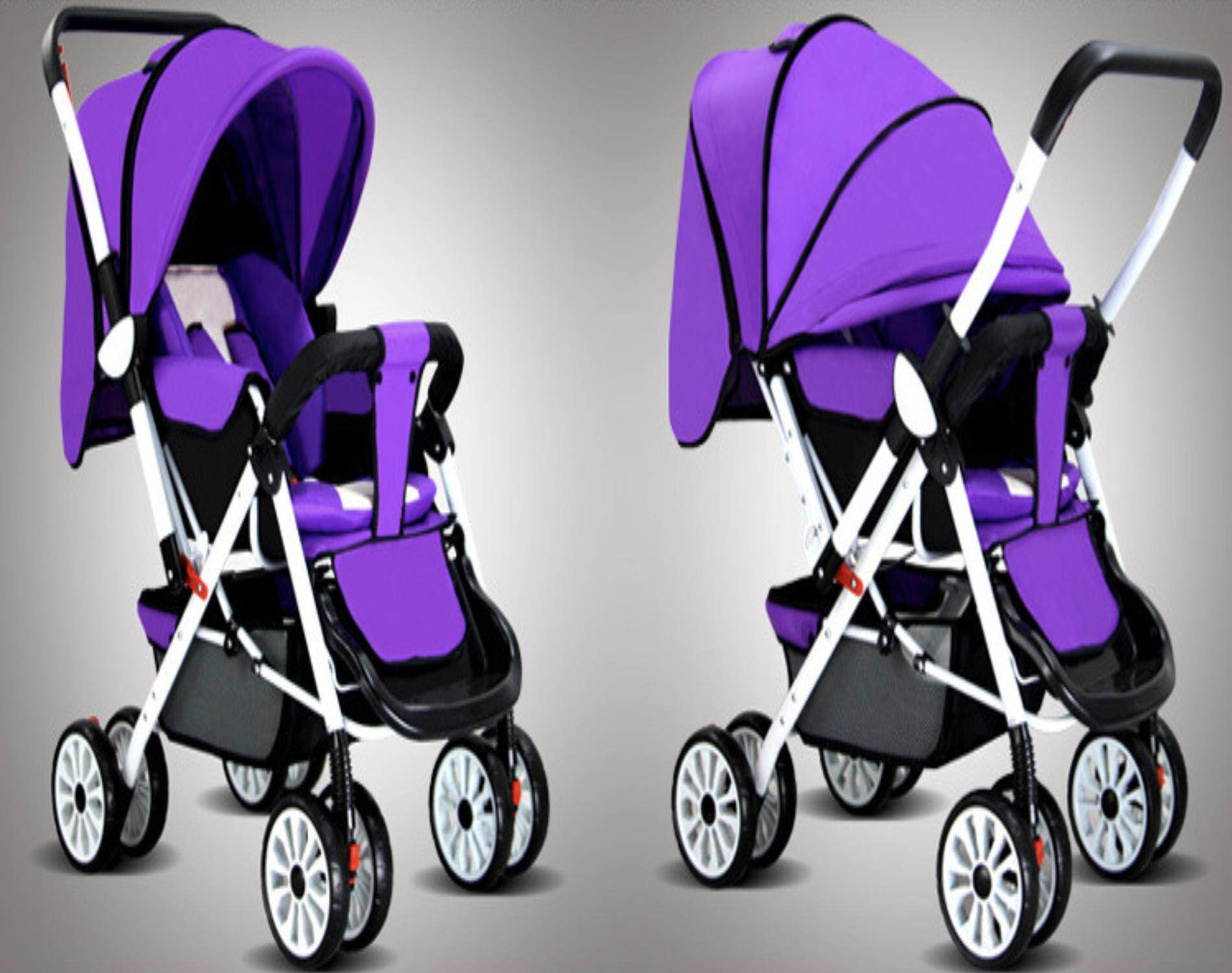 ฉลองยอดขายอันดับ 1 ลดราคา รถเข็นเด็กแบบนอน รถเข็นเด็กทารกแบบพกพาพับน้ำหนักเบาเด็กวัยหัดเดินท่องเที่ยว  ฟรีมุ้งคร้า Baby Stoller รถมันมีปุ่มกดพับได้ด้วย รถพับเก็บไว้ได้  สีม่วงPurple ถูกกว่านี้ไม่มีอีกแล้ว