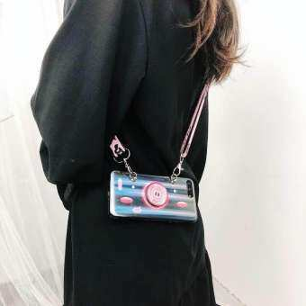 Fashion Caseหมูงานสะท้อนแสง ✨ฟรี สายสะพาย+ขาตั้ง  For...IPhone 6/6s สีดำ-