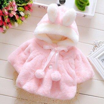 เด็กทารกเสื้อนอกฤดูหนาวน่ารักกระต่ายมีฮู้ดครึ่งแขนเสื้อเด็กผู้หญิงนาฬิกาเสื้อผ้าเด็กวัยหัดเดิน - นานาชาติ