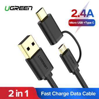 UGREEN 0.25 Meter 2 in 1 Micro USB and USB Type C Fast Charging Cable for Huawei Nova /Xiaomi A1/A2/Mi 6/Mi 8/Pocophone f1/One Plus/Asus/Samsung Phone-