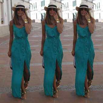 New Sexy Women Summer Long Maxi BOHO Evening Party Dress Beach Dresses Sundress(Green) - intl-