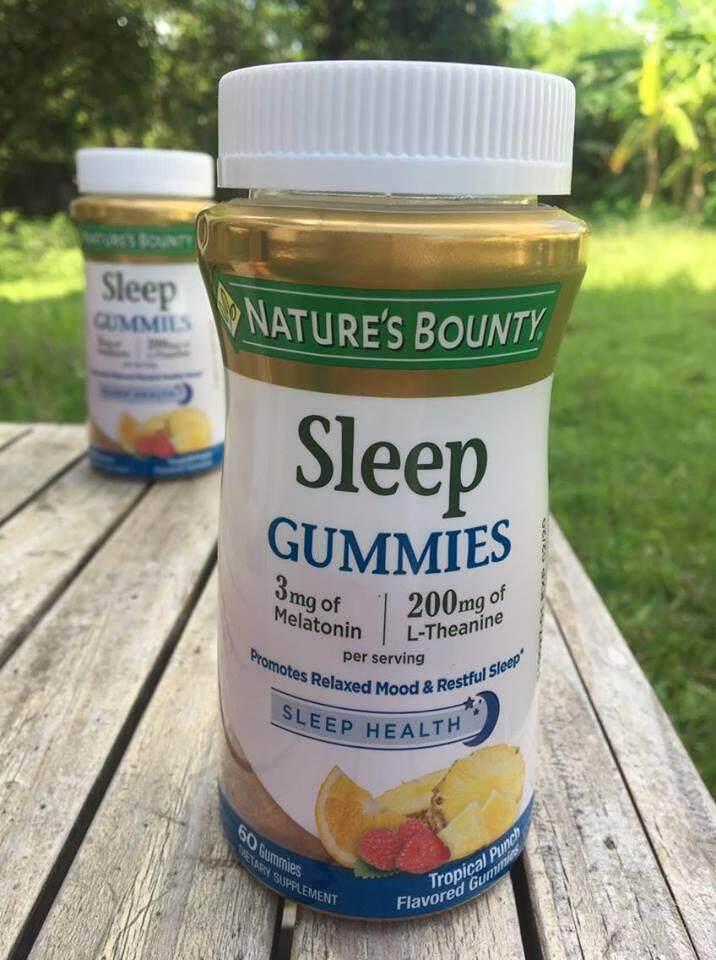 กัมมี่เมลา โทนิน + แอล ธีอะนีน แบบเม็ดเคี้ยว Sleep Gum mies Tropical Punch Flavored 60 Gum mies (Nature's Bounty®)