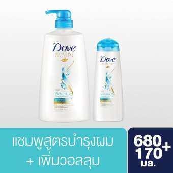 ซื้อที่ไหน โดฟ แชมพู บำรุงล้ำลึก พร้อมเพิ่มวอลลุ่ม (สีฟ้าอ่อน) 680มล (1 ขวด) & 170มล (1 ขวด) Dove Shampoo Volume Norishment (Light Blue) 680ml (1 bottle) & 170ml (1 bottle)