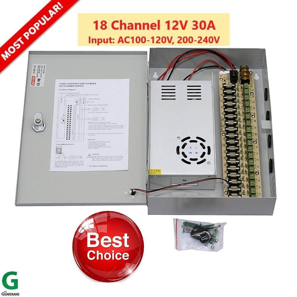 ชุดจ่ายไฟกล้องวงจรปิด Power Supply Box: 18Channel 12V 30A  for LED Lighting or CCTV, Power Adapter 360W