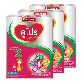 DUMEX  ดูเม็กซ์ นมผงสำหรับเด็ก ช่วงวัยที่ 2 ดูโปร ซูเปอร์มิกซ์ 600 กรัม (ทั้งหมด 3 กล่อง)-
