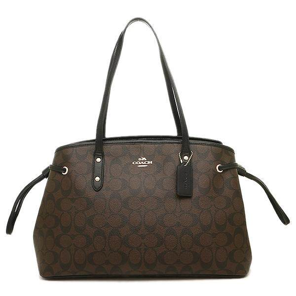 COACH F57842 DRAWSTRING CARRYALL IN SIGNATURE (Brown/Black)  กระเป๋า Tote Bag กระเป๋าผู้หญิง