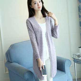 เสื้อผ้าป้องกันแสงแดดเกาหลีเสื้อใหม่หญิงยาว (สีกากี)