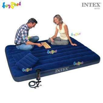 Intex ส่งฟรี ที่นอนเป่าลม แค้มป์ แคมป์ปิ้ง ปิคนิค 5 ฟุต (ควีน) 1.52x2.03x0.22 ม. รุ่น 68765 + หมอน 2-