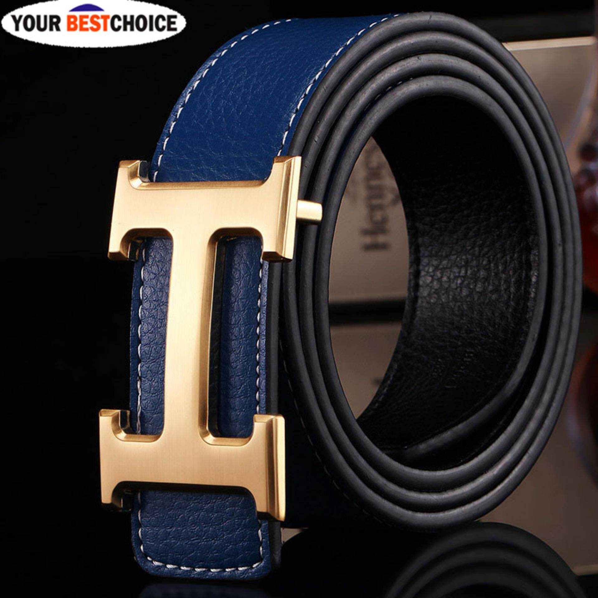 YBC New Style Business Leisure Genuine PU Leather H Smooth Buckle Litchi Grain Belt for Men - intl