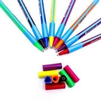 ปากกาลูกลื่น ชไนเดอร์ ชุด 8 ด้าม (สีดำ, น้ำเงิน, แดง, เขียว, ชมพู, เหลือง, ม่วง, ส้ม) เขียนลื่น ไม่มีสะดุด