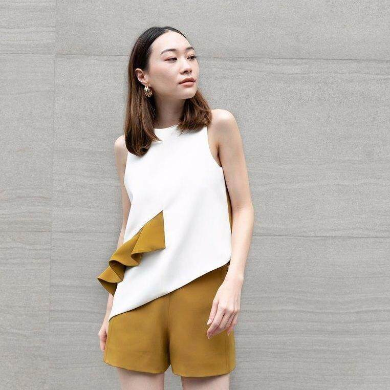Howdyclouds CREPE top (two-tones)