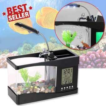Elit ตู้ปลา USB อเนกประสงค์ หรือปลั๊กเสียบ เป็นที่ใส่อุปกรณ์เครื่องเขียน มีนาฬิกา ตั้งปลุกได้ รุ่น FT1B-EA (Black)-