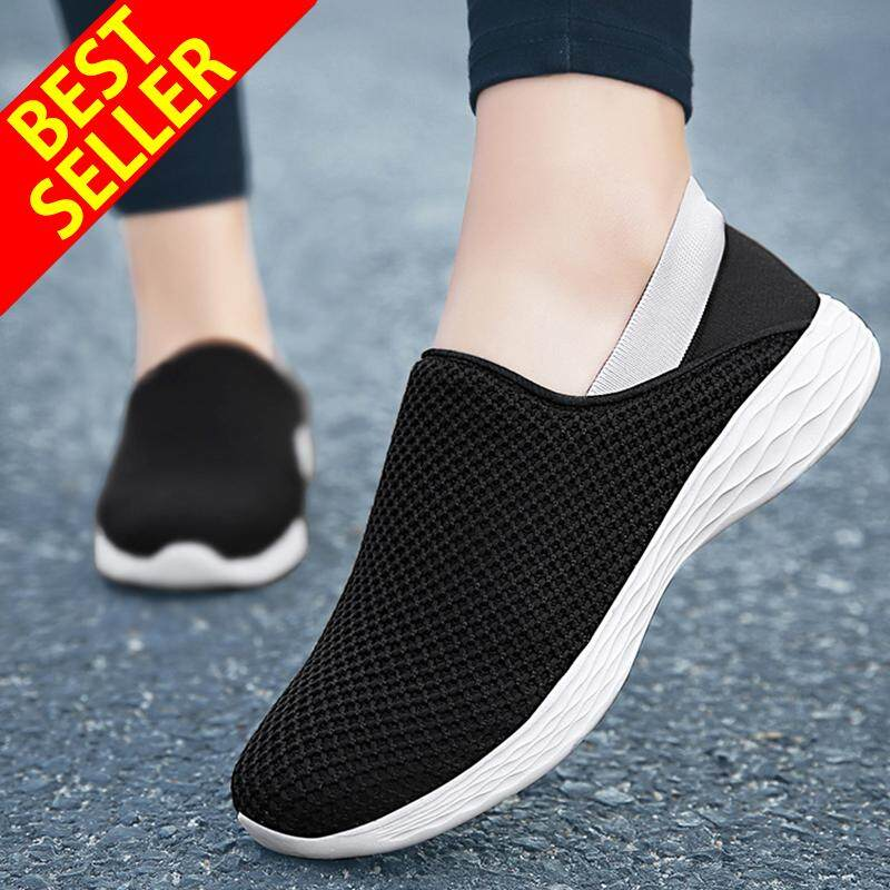 QINGSHUI Women Casual Slip-On Shoes Outdoor Sport Shoes Comfortable Athletic Flat Shoes Women Breathable Running Shoes