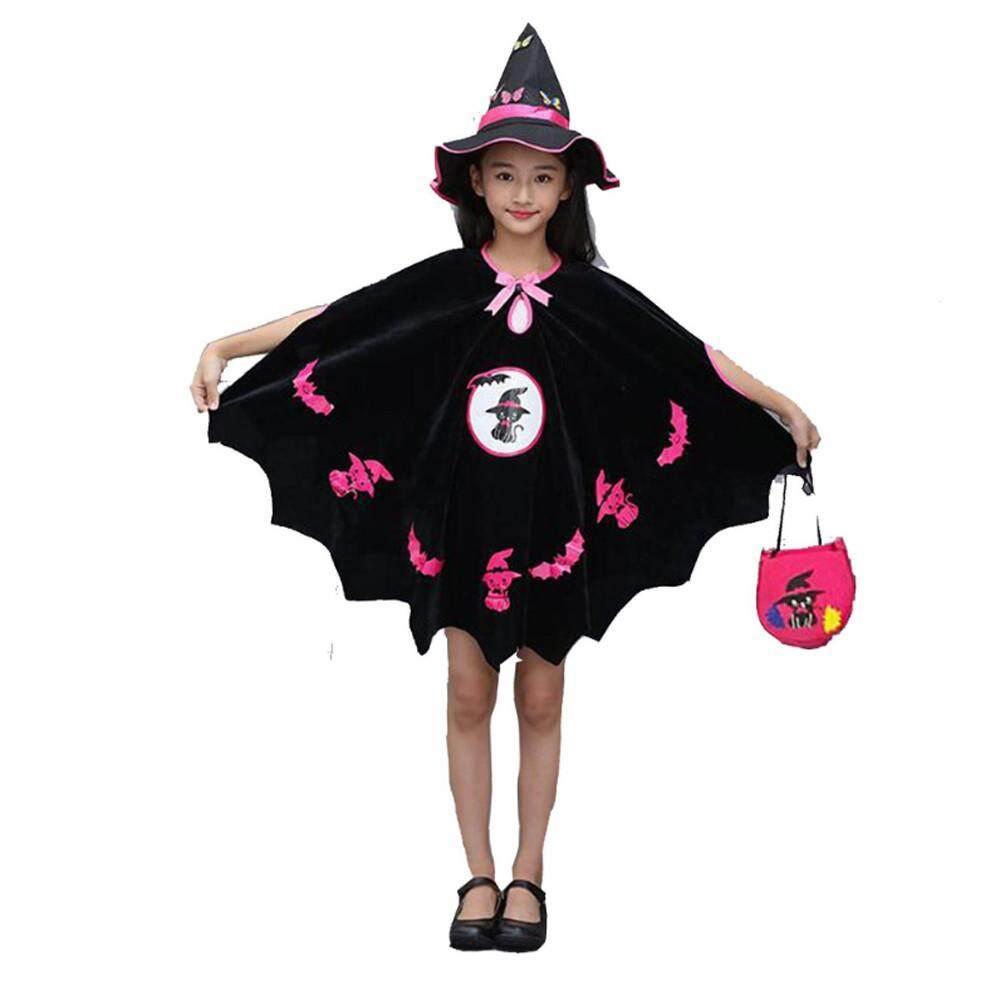 KATATA Trẻ Em Cho Bé Gái Trang Phục Hóa Trang Halloween Đầm Đảng Áo Choàng + Nón Bộ Trang Phục + Bí Đỏ Túi