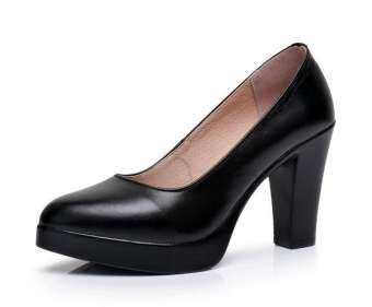 ส้นสูงรองเท้าทำงานหญิงหนังแท้การสอบสัมภาษณ์สีดำ 41-43 รหัสส้นหนารองเท้าสตรีปากตื้นไซส์พิเศษไซส์ใหญ่พิเศษรองเท้าแคทวอล์คกี่เพ้ารองเท้า