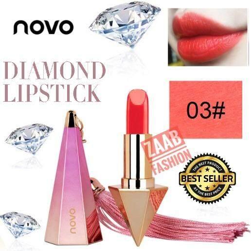 เนียนละเอียด ดูแพง Fashion 100 ของแท้ Diamond ไม่แห้งเป็นคราบ ติดทน โนโวลิปเพชร Novo เนื้อแมท Lipstick zaab ลิปฝาครอบแบบแม่เหล็ก สวยหรู