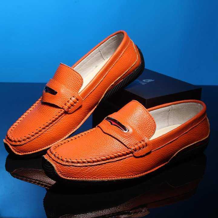 2017xx Summer Trend Leather Peas Men Lazy Trend Summer Men Shoes Casual Tide(Orange) 0546bd