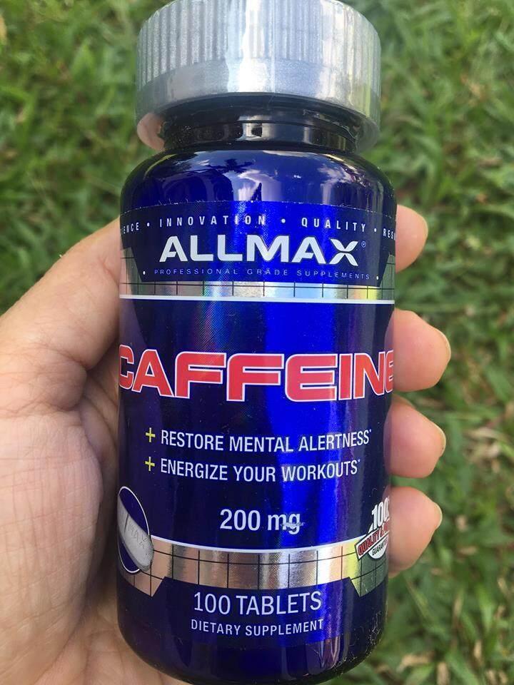 คาเฟอีนบริสุทธ์ 100% Pure Caffeine + Easy-To-Cut in Half Pill 200mg 100 เม็ด (ALLMAX Nutrition®)