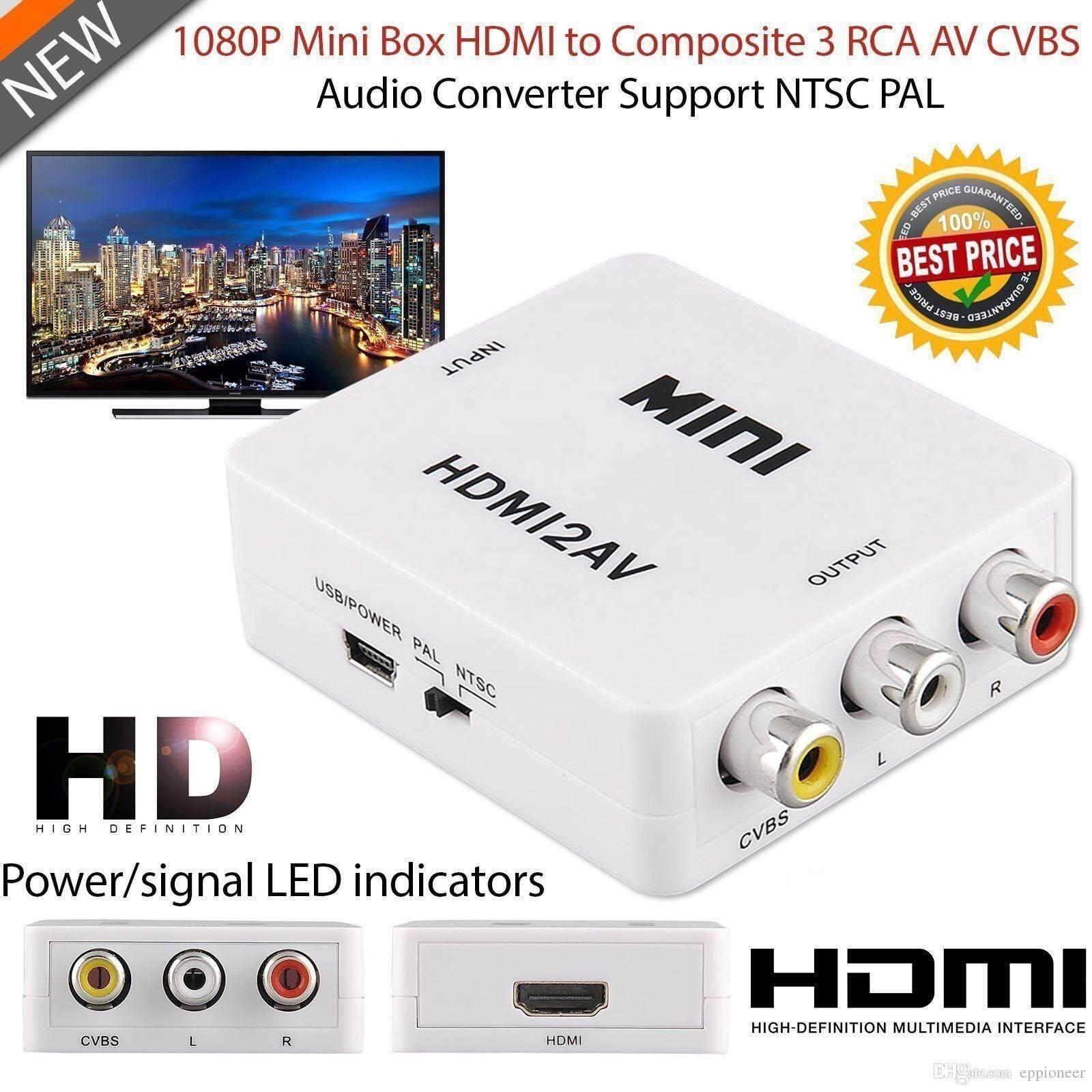 Portable 3 Way Audio Video Switch Splitter Selector Av Box Digital Hdmi To Rca Composite Cvbs Adapter Converter 720p 1080p White Intl
