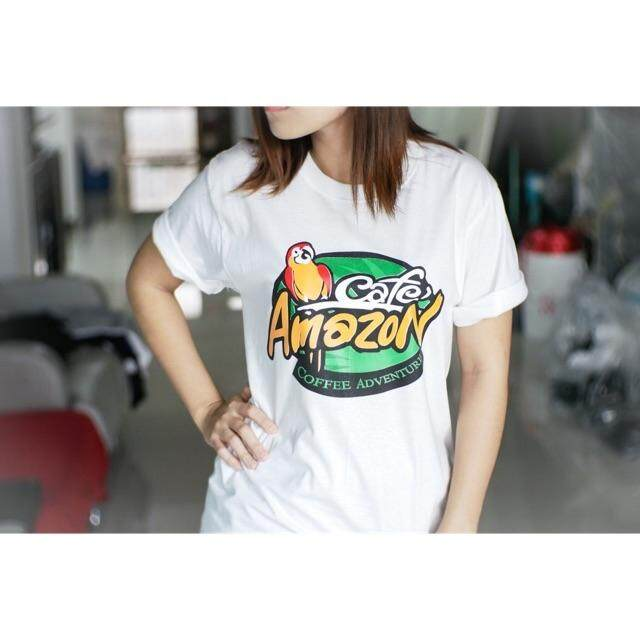 Cafe Amazon T Shirt 100% Cotton T Shirt Cafe Amazon เสื้อยืดผ้าฝ้าย
