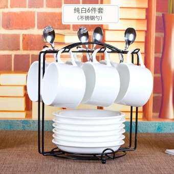 สีน้ำตาลหยี CLASSIC แก้วกาแฟของใช้ในครัวเรือนสไตล์ยุโรปขนาดเล็กหรูหรากาแฟชุดแก้วน้ำเซตชุด6ชิ้นเรียบง่ายตอนบ่ายถ้วยชา