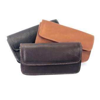 Chinatown Leatherกระเป๋าหนังแท้ร้อยเข็มขัดใส่มือถือ iPhone6-7-8 พลัสสีน้ำตาลเข้มฝานอน-