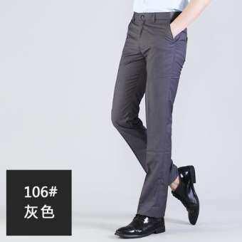 กางเกงผู้ชายสไตล์เกาหลีทรงสลิมฟิตสีดำ (สีดำ) (สีดำ)