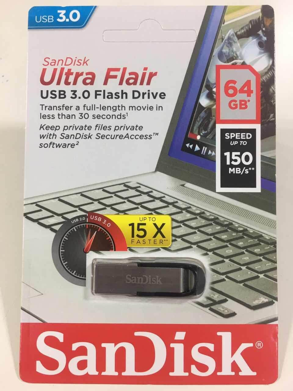 Sandisk แฟลชไดร์ฟ Flash Drive ULTRA FLAIR USB 3.0 - 32 GB / 64 GB