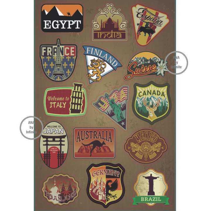แนะนำ infinite Suitcase Retro Sticker Set สติ๊กเกอร์ ตกแต่ง กระเป๋า เดินทาง สัญลักษณ์ เมือง ยอดนิยม