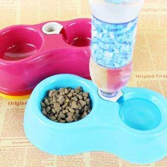 Pet Feeder ชุดให้อาหารและน้ำ ชามอาหาร พร้อมขวดน้ำพลาสติก สำหรับสุนัขและแมว ขนาด 35 x 17 ซม. (สีฟ้า)-