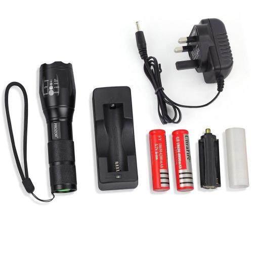 Turbo Light Ultrafire 2200Lm CREE XML T6 LED Zoomable Flashlight Torch 5 Modes เทอร์โบ ไลท์ ไฟฉาย แรงสูง ซูมได้ แถมอุปกรณ์ครบชุด แถมแบต 2 ก้อน