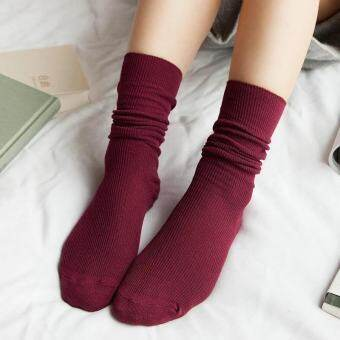 เลดี้สไตล์เกาหลีถุงเท้าสีลูกอมถุงเท้าถุงเท้าผ้าฝ้ายทั้งหมด Pile ถุงเท้า - สีดำ - INTL