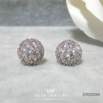 Value Jewelry ER0137 กว้าง1.1cmยาว1.1cm เครื่องประดับเพขรCZ เกรดพรีเมี่ยม ไม่ลอก ไม่ดำ ไม่แพ้ ไม่คัน ต่างหูแฟชั่น ออกงาน ทำงาน ปาตี้ เที่ยว ติดหู หนีบ ห่วง ระย้า เกาหลี ดารา นำโชค เสริมดวง ราคาส่ง ขายดี คริสตัล เพชร แบรนด์เนม สร้อยข้อมือ สร้อยคอ แหวน กำไล-