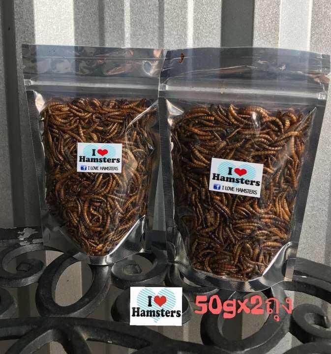 Dried Worms 50gx2 หนอนอบแห้งจากฟาร์ม HAMSTER FOOD / แฮมเตอร์ / อาหารหนูและเม่นแคระ 50กรัม*2 ถุง