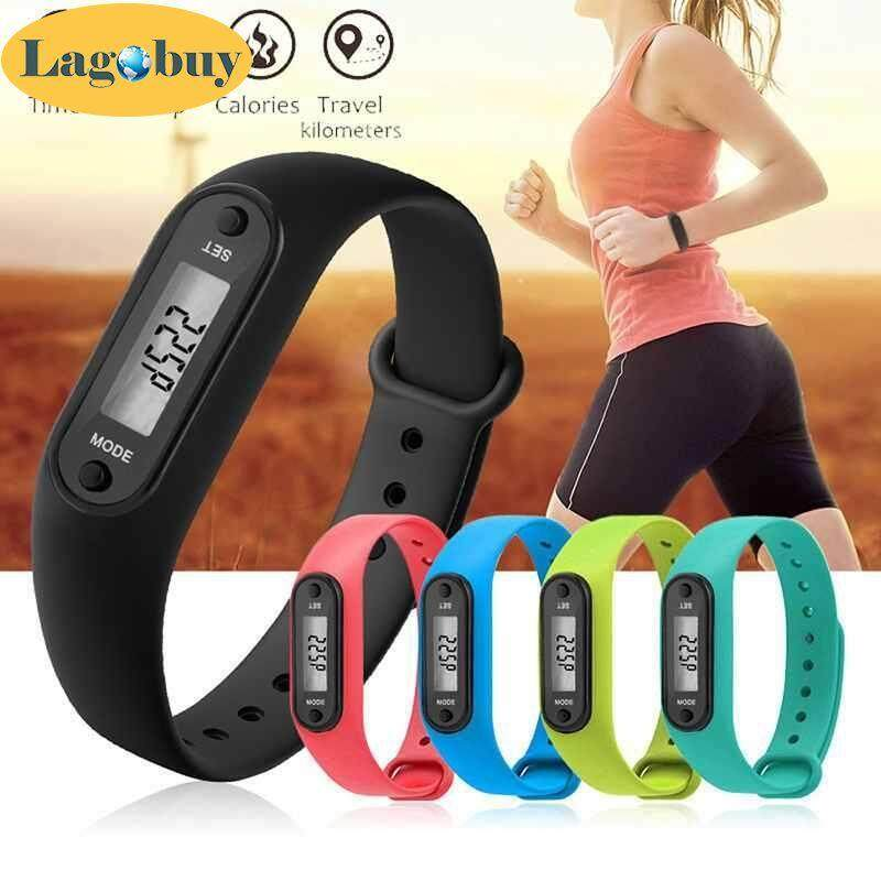 lagobuy Digital LCD Watch Bracelets Pedometer Calorie Counter Walking Distance Wrap Cuff Drop Ship