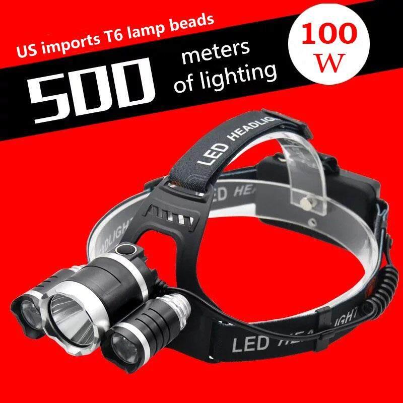 10000LM LED 1*T6+2*XPE Waterproof Headlamp ไฟฉายคาดศีรษะ 3 หัวไฟ