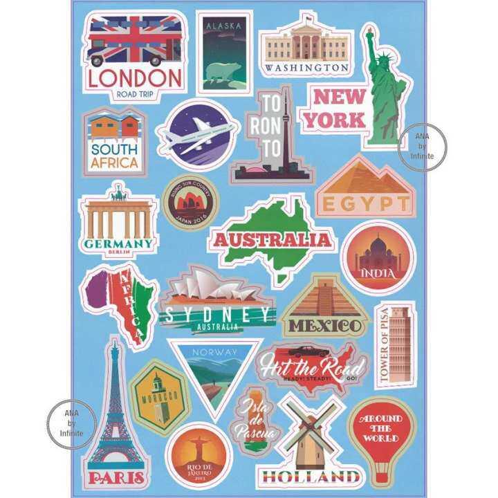 โปรโมชั่น infinite Suitcase Sticker Set สติ๊กเกอร์ ตกแต่ง กระเป๋า เดินทาง สัญลักษณ์ เมือง ท่องเที่ยว