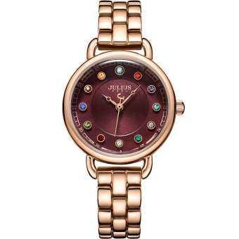 Julius นาฬิกาข้อมือผู้หญิง แบรนด์เกาหลี เพชร12สี สายสแตนเลส รุ่น JA-1088-