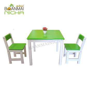 Baanmainicha โต๊ะนักเรียนอนุบาล โต๊ะกิจกรรมเด็ก โต๊ะทำการบ้านเด็ก โต๊ะกิจกรรมไม้ยางพารา โต๊ะทูคิดส์ Size : 70x70x55 cm. รับน้ำหนัก 80 kg.