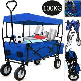 Double รถเข็น รถเข็นสินค้า Sports Collapsible Folding Outdoor Utility Wagon Shopping Cart