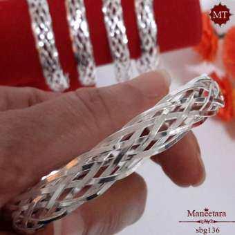กำไลข้อมือเงินแท้ ลายถักสาน สวย หรู ดูดี 925 Sterling Silver Woven Bangle : มณีธารา MT Jewelry (sbg136)-