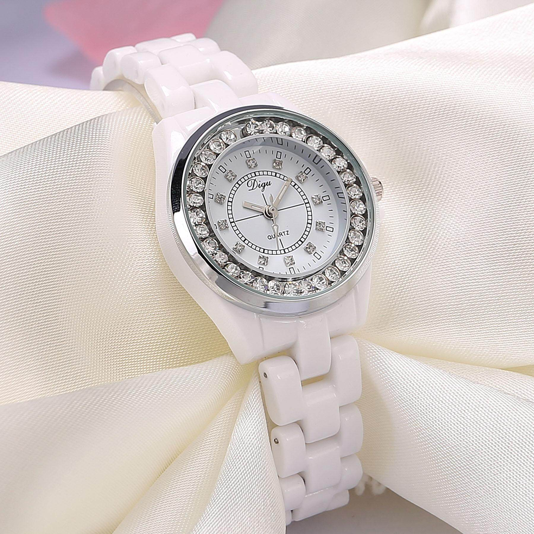 watch watches women Trend of Fashion Leisure Waterproof Ceramic White Quartz with Man-made Diamond Students 2018 New Style Korean Style