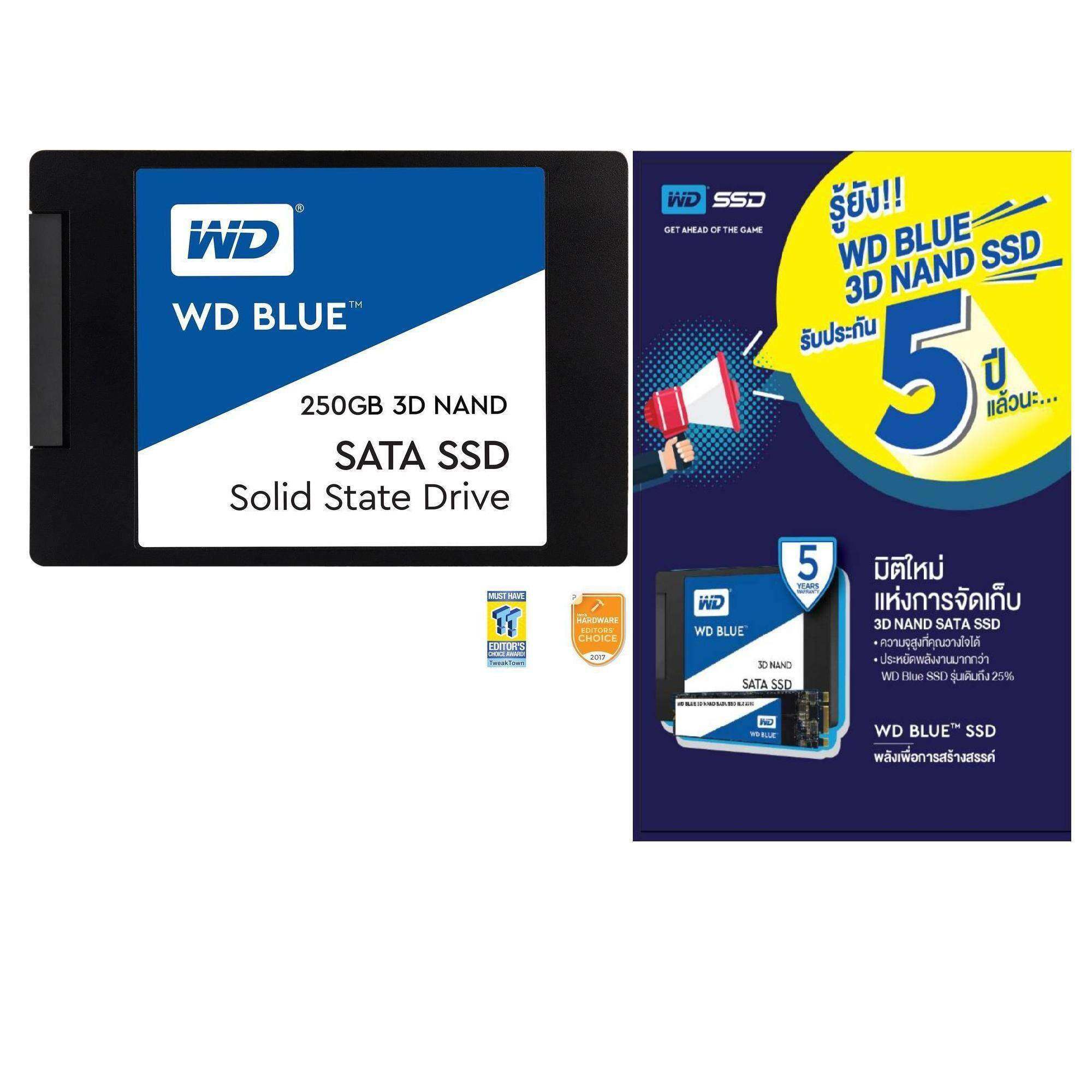 "250GB SSD (เอสเอสดี)WD Blue 3D NAND 250GB PC SSD - SATA III 6 Gb/s 2.5""/7mm Solid State Drive - WDS250G2B0A -5 YEARS WARANTY (BY SYNNEX)"