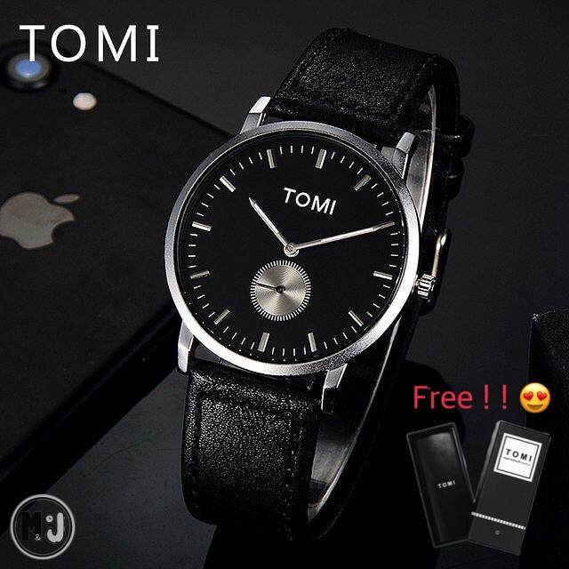 TOMI แท้  Simple Fashion Watch รุ่นนาฬิกา T012 Black Silver  (100%New)