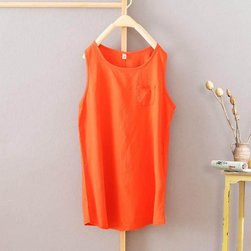 2017 model baru pakaian musim panas kain linen rompi wanita model setengah panjang tank top longgar