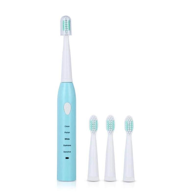 แปรงสีฟันไฟฟ้า ทำความสะอาดทุกซี่ฟันอย่างหมดจด ตรัง Electric Toothbrush แปรงสีฟันไฟฟ้า Sonic USB ชาร์จเครื่องสำหรับวัดระดับน้ำแปรงสีฟันไฟฟ้าความปลอดภัยกันน้ำสำหรับผู้ใหญ่   3 ชิ้นเปลี่ยนหัวแปรง Life is good