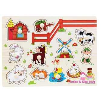 Todds & Kids Toys จิ๊กซอว์หมุดไม้ชุดสัตว์ฟาร์ม-