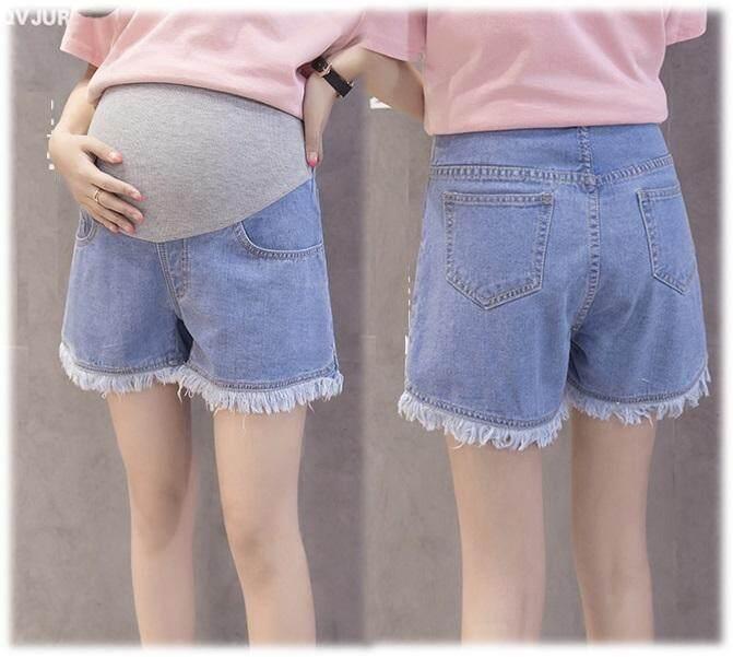 แนะนำ กางเกงคนท้อง กางเกงขาสั้นคนท้อง กางเกงยีนส์คนท้องขาสั้น ปลายขาลุ่ยเก๋ๆ กางเกงคุณแม่ตั้งครรภ์ Mommy Kiss สีฟ้า