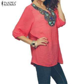 ZANZEA ผู้หญิง V - คอเย็บปักถักร้อยเสื้อฤดูร้อนสุภาพสตรีสุภาพสตรี 3/4 แขนยาวแบบสบายเสื้อเชิ้ตยาวหลวม-