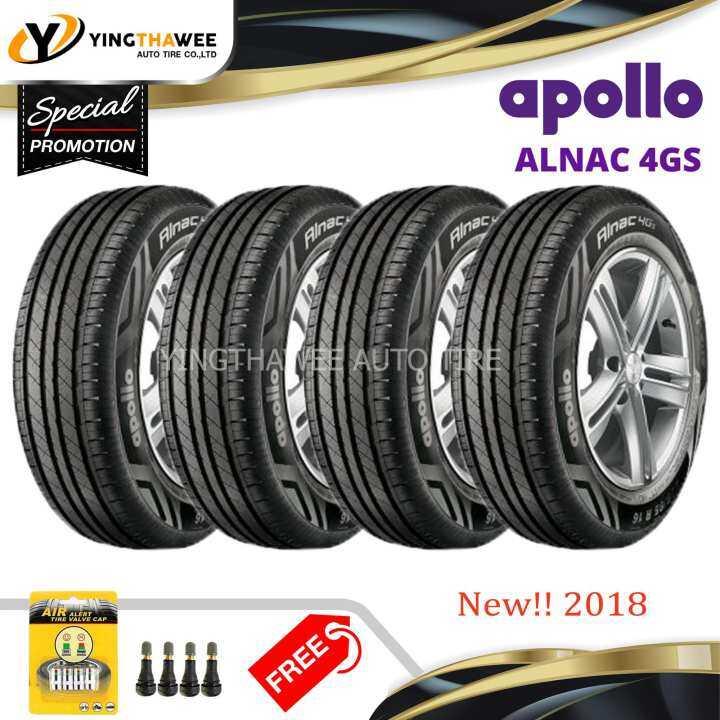 APOLLO ยางรถยนต์ 195/60R15 รุ่น ALNAC 4GS จำนวน 4 เส้น (แถมจุ๊บลมยาง Pacific หัวทองเหลือง 4 ตัว + จุกลมยางอัจฉริยะ 1 ชุด)